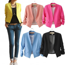 Fold Sleeve Candy Color Suit Blazer