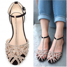 Rhinestone Summer Flat Sandals