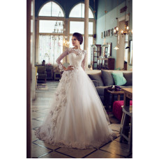 A-Line Floral Tulle Wedding Dress