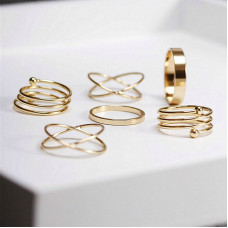 6-Pieces Plated Midi Ring Set