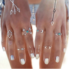6-Pieces Ethnic Carved Ring Set