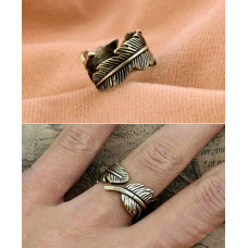 Antique Feather Resizable Carved Ring